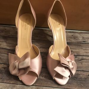 Kate Spade pink satin bow shoes